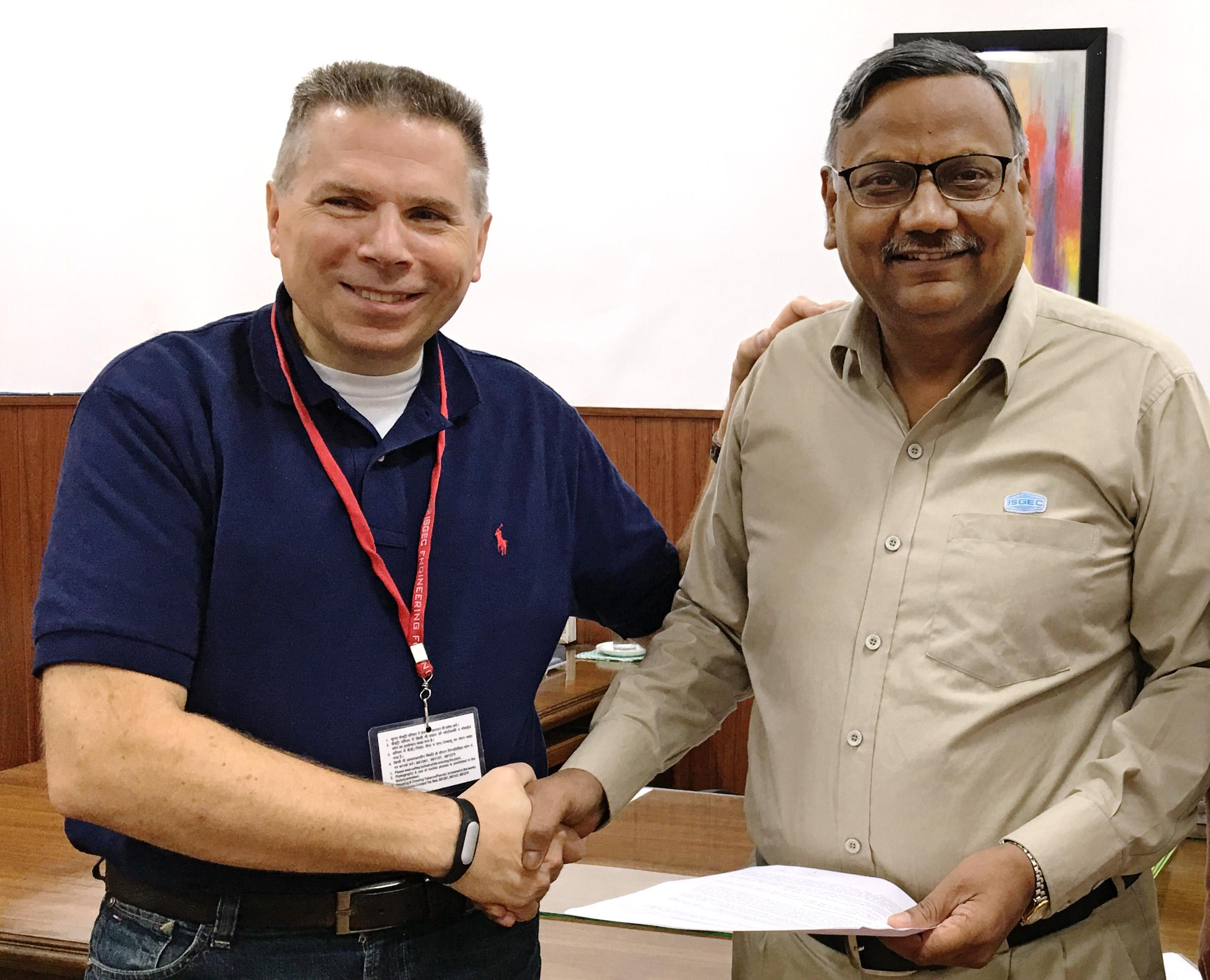 """Our cooperation agreement with ISGEC opens up great opportunities for AP&T on the Indian market,"" says Per Josefsson, vice president, sales and marketing at AP&T. Here with Business Head Vivek Nigam – Presses, Metal Cutting Machinery and Contract Manufacturing at ISGEC."