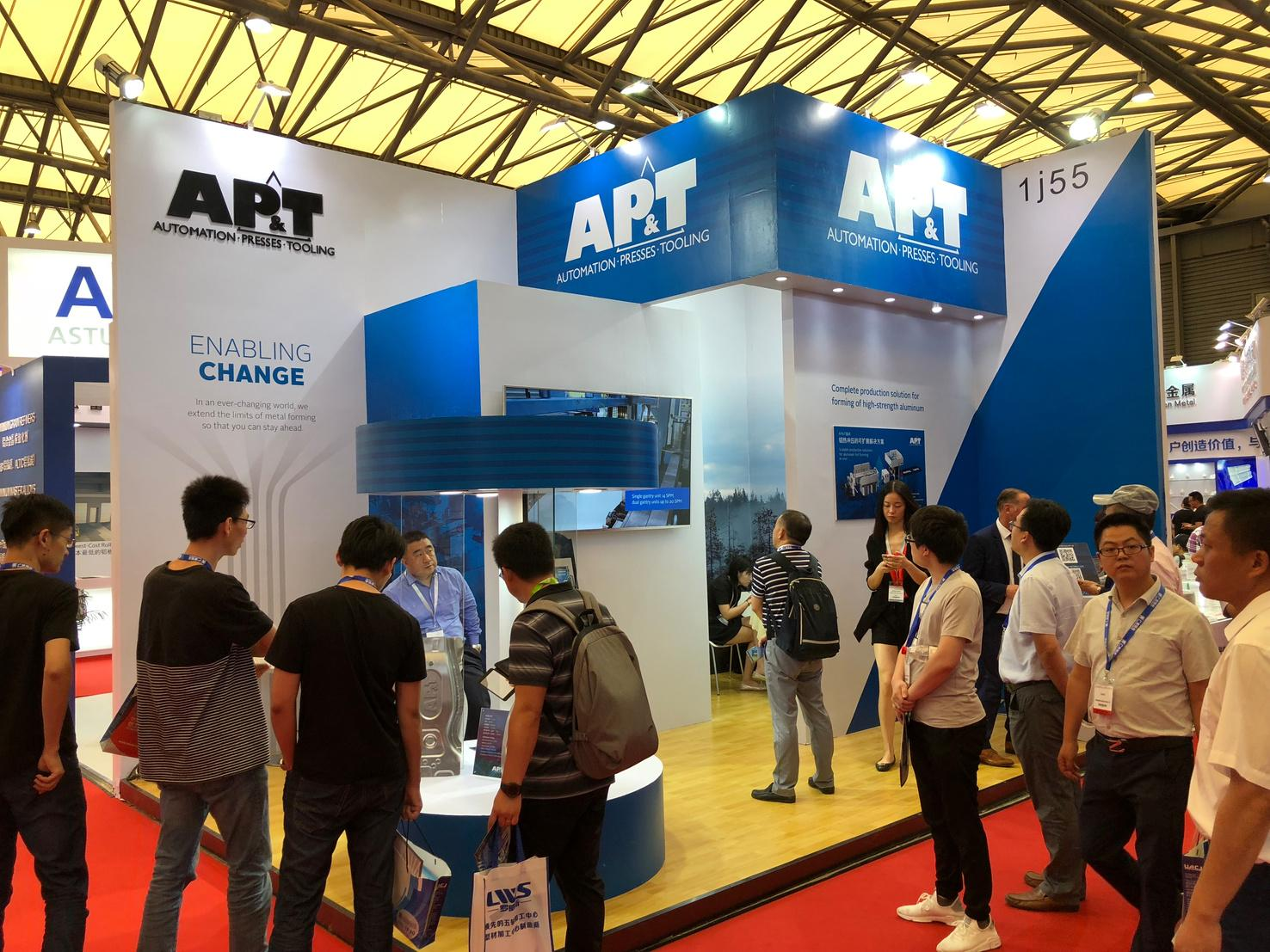 AP&T's production solution for hot forming of complexly shaped body parts out of high-strength aluminum aroused a great deal of interest at Aluminium China 2018.