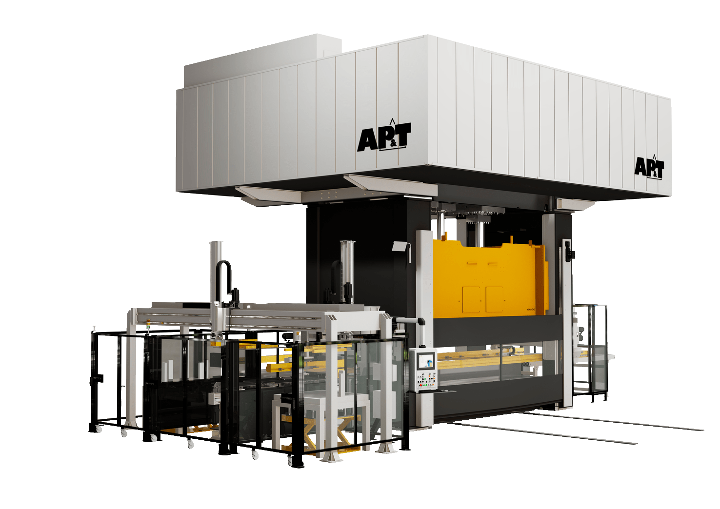 With high stroke frequency, full synchronization and compensation for off-center loads, AP&T's servo hydraulic press is well suited to transfer solutions.
